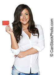 Beautiful smiling girl showing red card in hand, over white...