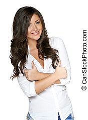 Happy smiling businesswoman gesturing thumbs up - Happy...