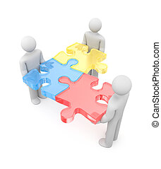 3d people with puzzle. Partnership metaphor - Image contain...