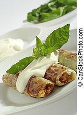 Rolled, pore\'s, leaves, cream, (creme, fraiche), basil