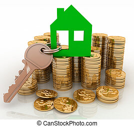 house symbol with key and coins - 3d house symbol with key...