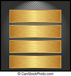 golden banners - four golden banners on striped black...