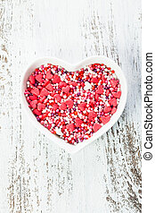 Valentine cake decorations - Sugar hearts in the plate -...
