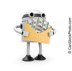 3d robot hold envelope with earnings - Business concept....