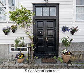 Door in Norway. Stavanger old town