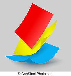 Falling paper sheets - Colorful paper sheets falling down....