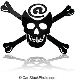 Web piracy - Concept illustration showing a pirate skull and...
