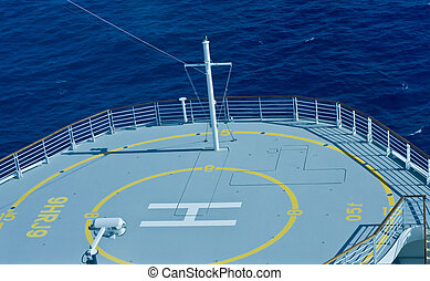 Helicopter Pad Over Blue Ocean