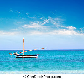 boat and clouds - white and blue boat on a calm sea