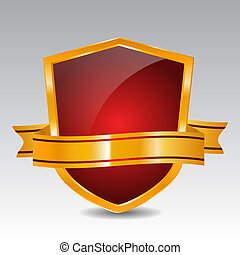 Red Shield With Ribbon - Red glossy shield with golden...