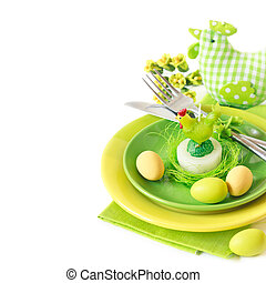 Easter table setting - Easter table setting with chickeh...