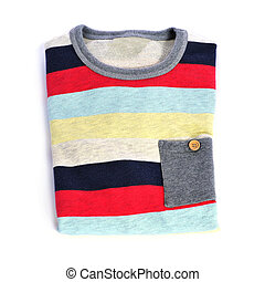 sweater - a folded sweater of different colors on a white...