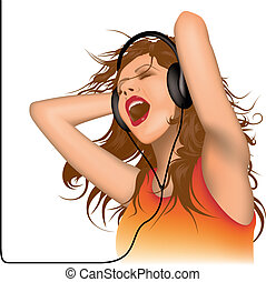 DJ Ecstasy - Colored Background Illustration, Vector