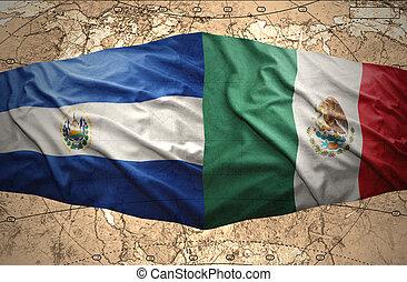 El Salvador and Mexico - Waving El Salvador and Mexican...