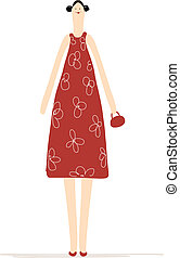 Beautiful woman in red dress for your design
