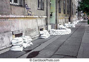Sandbags at the flood closeup photo