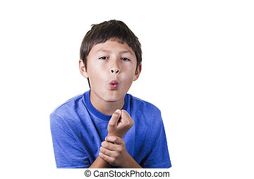 Young boy with sparined hurt wrist - on white background