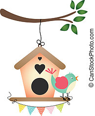 Bird and Birdhouse - Scalable vectorial image representing a...
