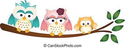 Happy Owl Family on Tree Branch