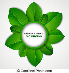 Abstract spring background with green leaves