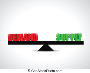 demand and supply balance illustration design over a white...