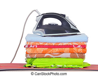 steam iron - ironing board with a man's shirt and a...