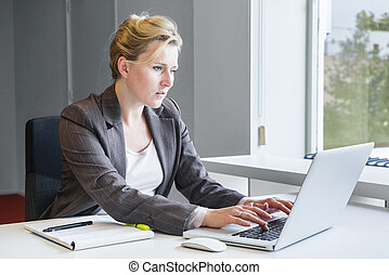 Executive business woman with notebook - Executive...