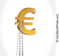 stairs to euro currency symbol illustration