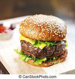 Hamburger, sésame, brioche, Fondu, fromage, fin, haut