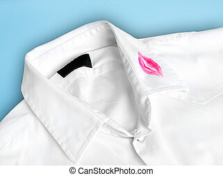 Shirt with kiss - White shirt with kiss lipstick