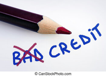 Bad credit word on grey background