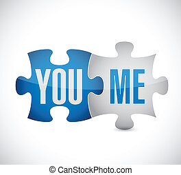 you and me puzzle illustration design over a white...