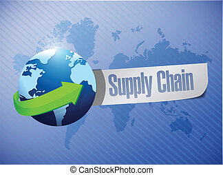 supply chain globe message over a world map illustration...