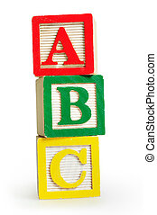 Isolated word ABC on white background
