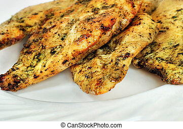 Plate with chicken marinated