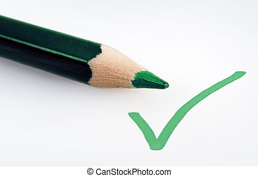 Green validate sign - Green validated sign and pencil