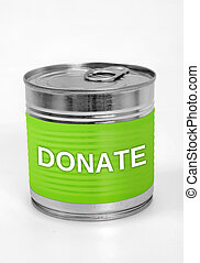 Donate word on food can
