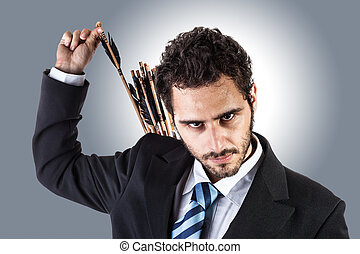 archer businessman - an elegant young businessman extracting...