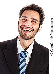 cheering businessman - portrait of an handsome businessman...