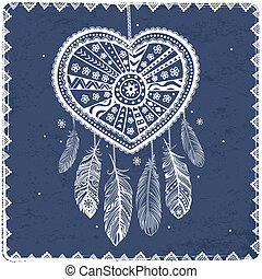 Beautiful Valentines day heart with ethnic feathers