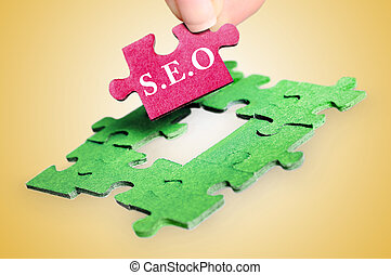 SEO word - Puzzle with SEO word piece