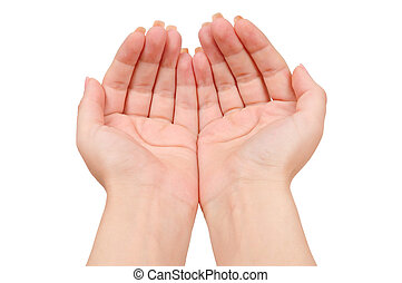 Cupped hands - Isolated cupped hands on white background