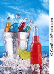 verano, bebidas, hielo, cubo, playa