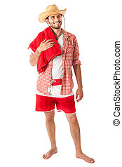 Beach style - a young, attractive male in a colorful outfit...