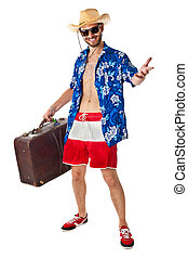 American tourist - a young, attractive male in a colorful...