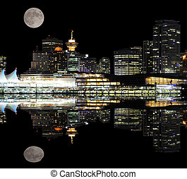 Night city view. - Night view of Vancouver downtown from...