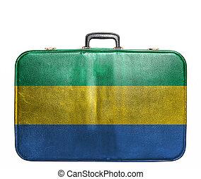 Vintage travel bag with flag of Gabon