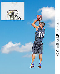 hoop and player in the sky - basketball player shooting in...