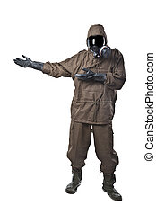 Man in Hazard Suit Showing or demonstrating - A man wearing...