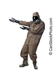Man in Hazard Suit Showing something - A man wearing an NBC...